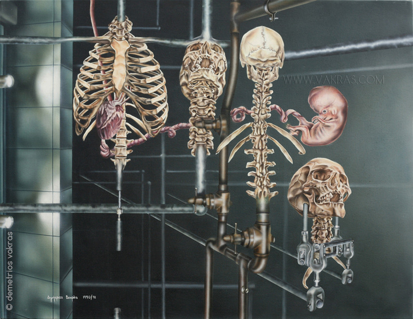 surreal painting showing skeletons evolving from pipeworks along with a heart attached to a foetus by an umbilical cord