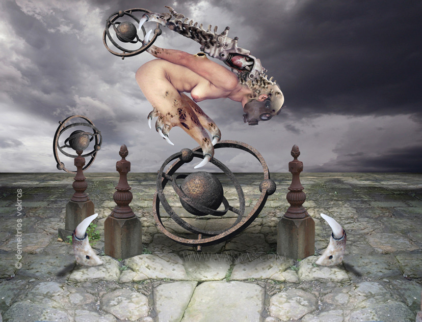 surreal digital image of nude female figure with ossifying appendages and wearing gasmask descending on an armillary sphere