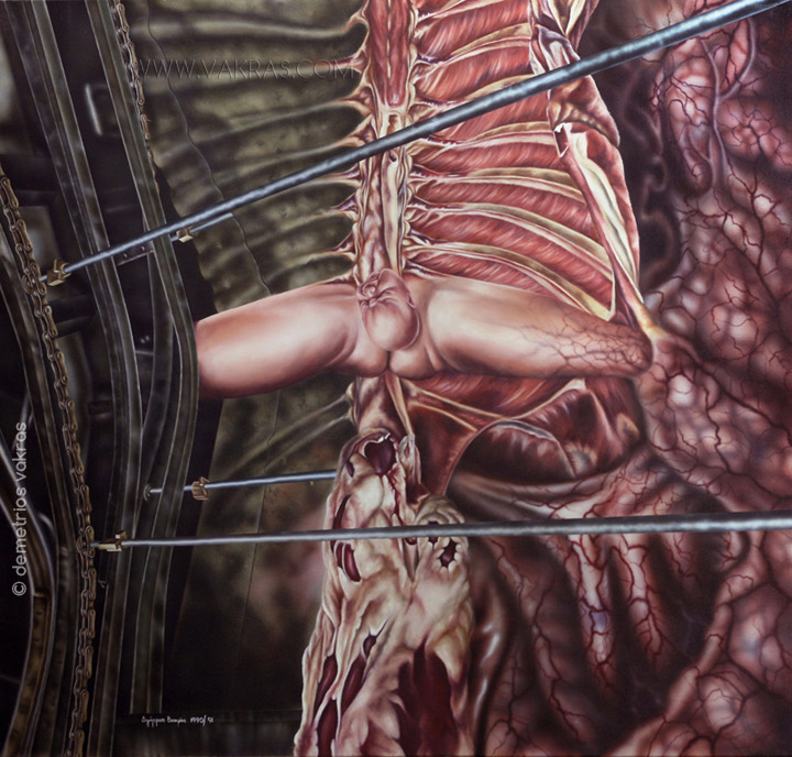 surreal painting, oil & accrylic. birthing of individual into mechanical/organic world