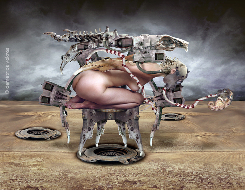surreal digital image of kneeling/prostate nude female with ossifying arms and head, wearing a gasmask out of which flows an umbilical cord with floating sea-horse gasmask-wearing foetus and bearing a mechanical device with skeletal appendages