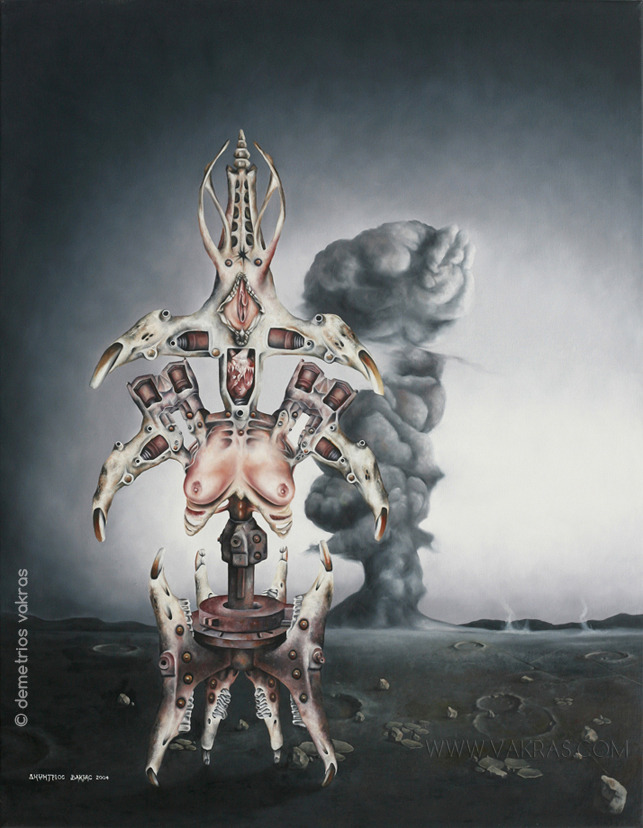 surreal painting of skeleto-mechanical device which bears a heart, breasts and vulva