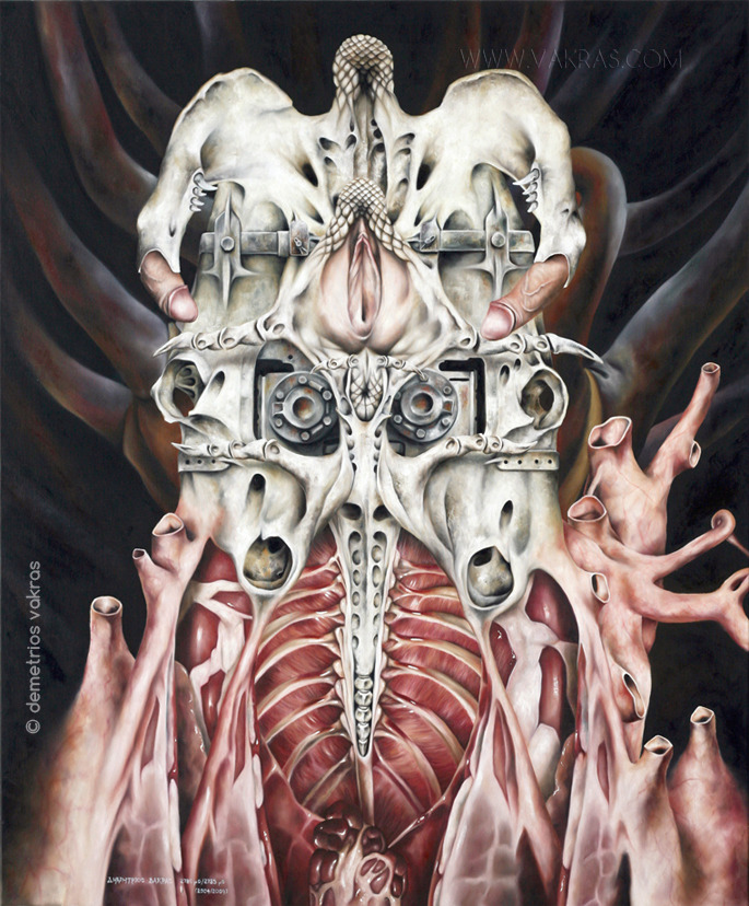 surreal painting of anatomical-cum-skeletal-cum-mechanical construct with large central vulva and a penis on either side of it seeking entry