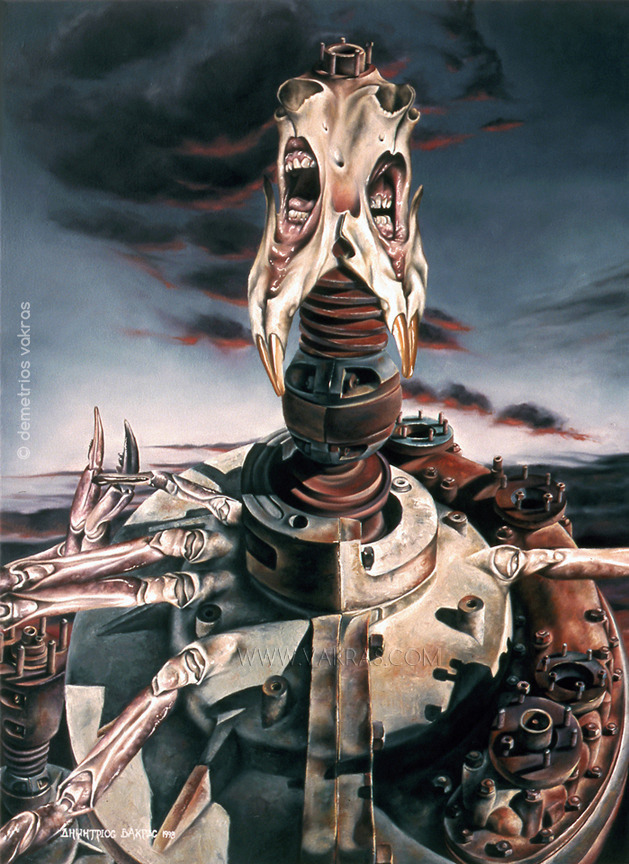 surreal painting, oil, with mechanical device with flailing crab-arms and screaming mouths