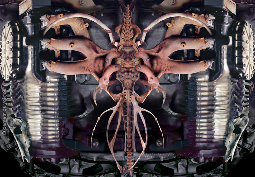 surreal digital photomontage of engines joined together by skeletal and insect parts