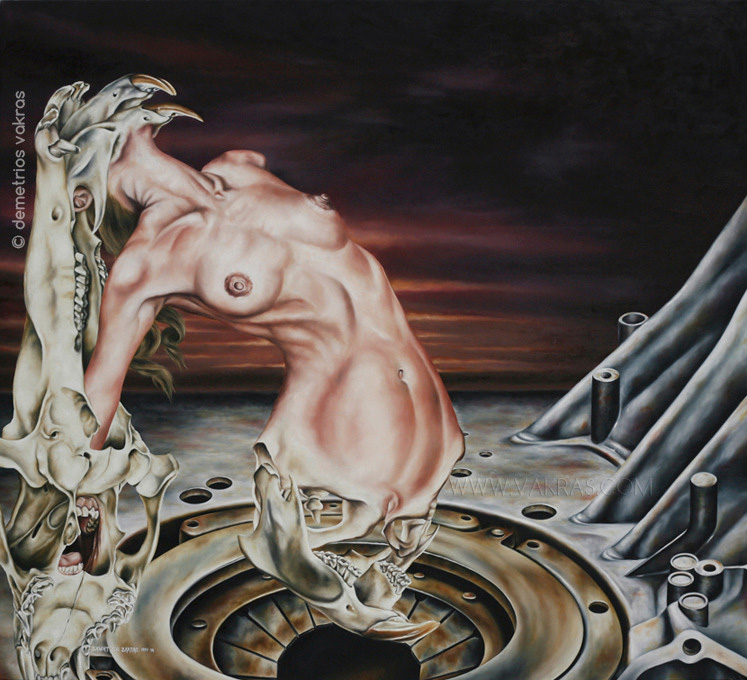 "surreal painting, oil of female form metamorphosing into bony appendages over mechanical ""chasm"""