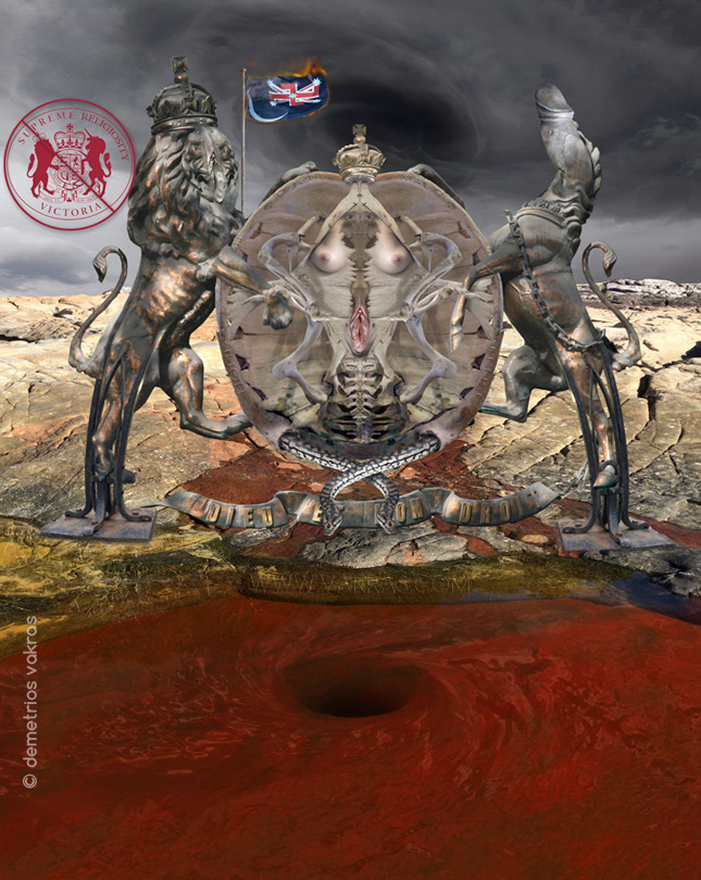 "surreal digital image of the Official Seal of the Supreme Court of Victoria - the Royal Coat of Arms used by the British Monarch - re-interpreted as a Sheela Na Gig prying her labia with two ""fuck-guards (a lion with a vulva-face, and unicorn with phallus-head)"